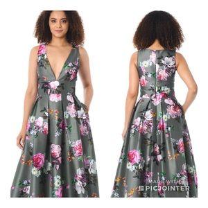 Eshakti Gray Floral Dupioni Dress